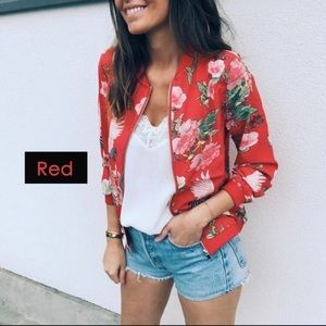 NWT red floral zip front jacket SZ.XL